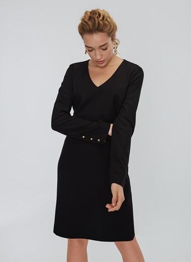 People By Fabrika Kol Detaylı V Yakalı Elbise Siyah